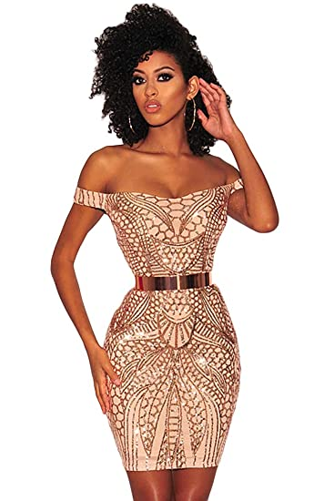 b7940dd573133 shelovesclothing Women's Gold Sequined Nude Illusion Sweetheart Off Shoulder  Mini Bodycon Dress (Small 6-