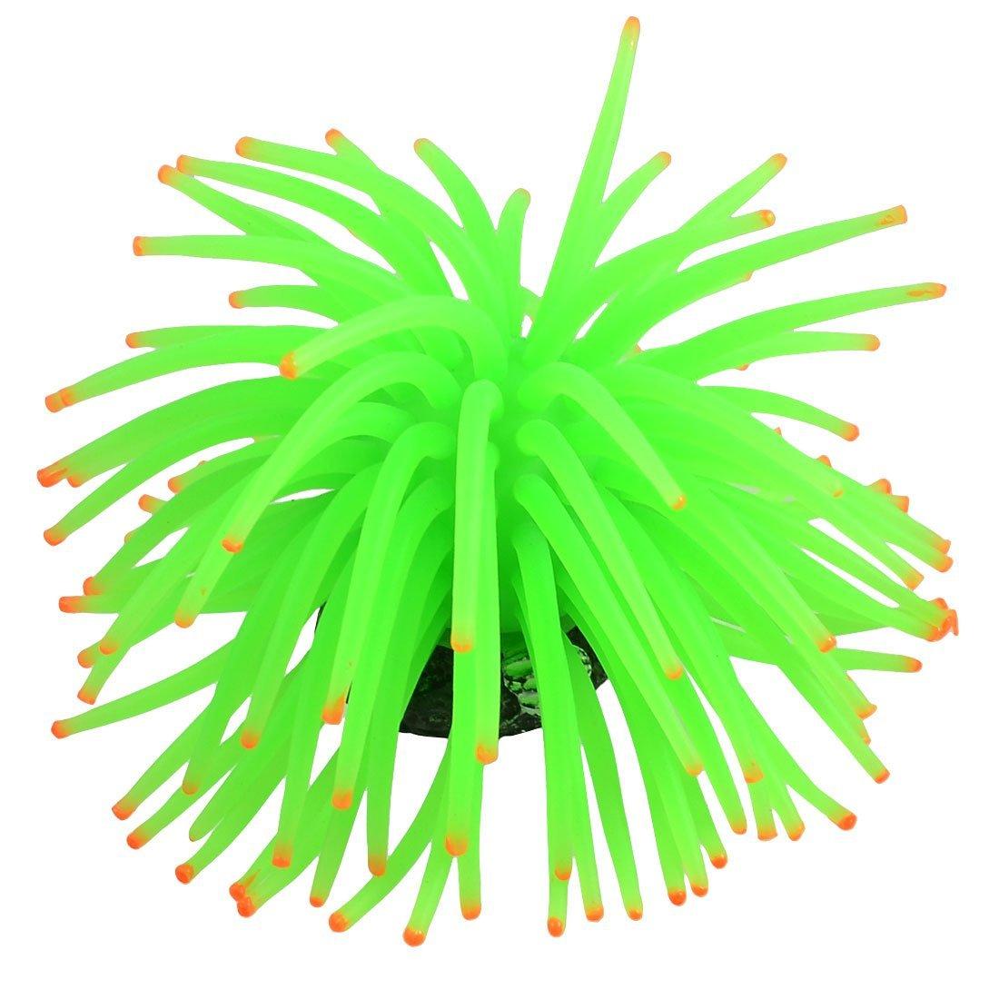 Uxcell a12080700ux0014 Green Tentacle orange Tip Aquarium Simulation Soft Coral Decor 4.3  Diameter