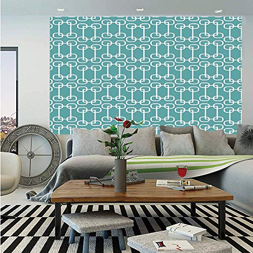 SoSung Turquoise Removable Wall Mural,Vintage 60s Home Decor Inspired Retro Squares and Circles Tile Like Image Decorative,Self-Adhesive Large Wallpaper for Home Decor 66x96 inches,Teal and White
