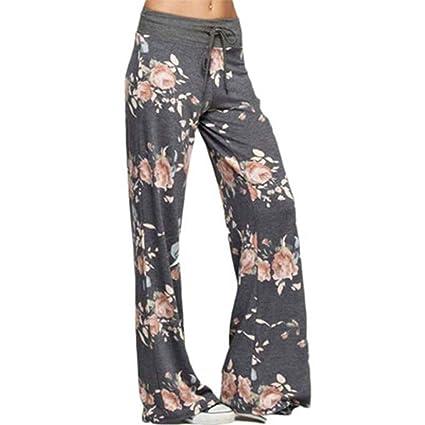Gudelaa Mujeres Estampados Florales Pantalones Anchos de ...