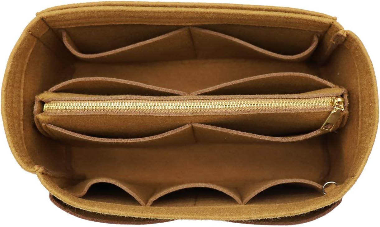 Felt Purse Bag Organizer Insert with zipper Bag Tote Shaper Fit Speedy Neverfull MM GM Brown Size: L