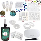 250ML Crystal Epoxy Resin UV Glue Nail Art Tools,1 Pcs Portable UV LED Lamp with USB and Tweezer,16Pcs Transparant Silicone Mould Resin Craft Mould 100 Pcs Accessories For Jewelry Earrings Necklace