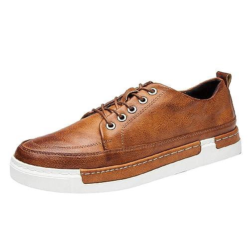 QinMM Zapatos con Cordones de Negocios Formal para Hombres Zapatillas Oxford de Cuero de conducción Zapatos Casuales Mocasines: Amazon.es: Zapatos y ...