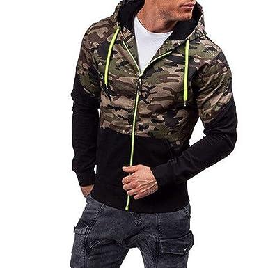 a1599d5bb3d6e Ankola Hoodie Sweatshirt, Men's Camouflage Zip-up Running Bodybuilding Long  Sleeve Fitted Hoodie Tops
