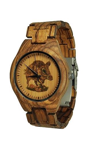 munixw Brentwood Trachten Reloj jagduhr Madera Reloj de pulsera Jabalí con caja: Amazon.es: Relojes