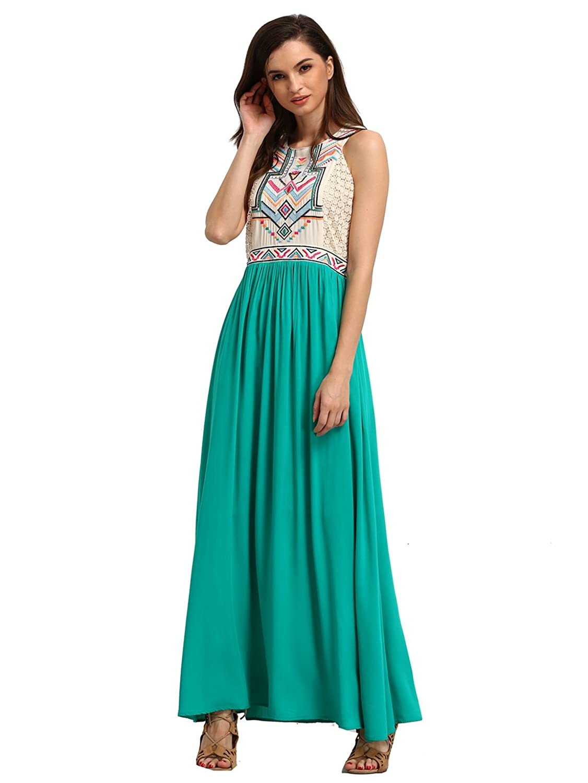 ROMWE Women's Summer Bohemian Floral Print Full Length Maxi Beach Dress