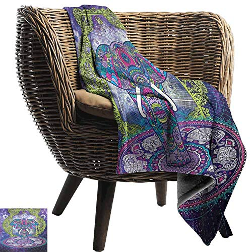 (Ethnic Fashion Throw Blanket,Sacred Figure Elephant Standing in Mandala Over Outer Space Cosmos Hippie Design Super Soft Plush Blanket for Chair Fall Winter Spring(70