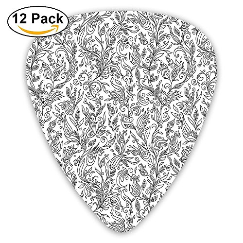 Newfood Ss Flowers Swirls Ivy With Leaves Indian Modern Paisley Inspired Image Sketchy Guitar Picks 12/Pack Set ()