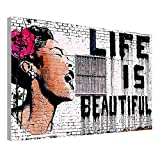 Alonline Art - Life is Beautiful Banksy Framed Stretched Canvas (100% Cotton) Gallery Wrapped - Ready to Hang | 41''x27'' - 103x69cm | Framed Wall Decor Framed Artwork for Living Room Framed Wall Art