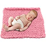 Play Tailor Baby Photo Blanket, Chunky Knit Blanket for Newborn Baby Monthly Photo Shooting (50x50cm,Pink)