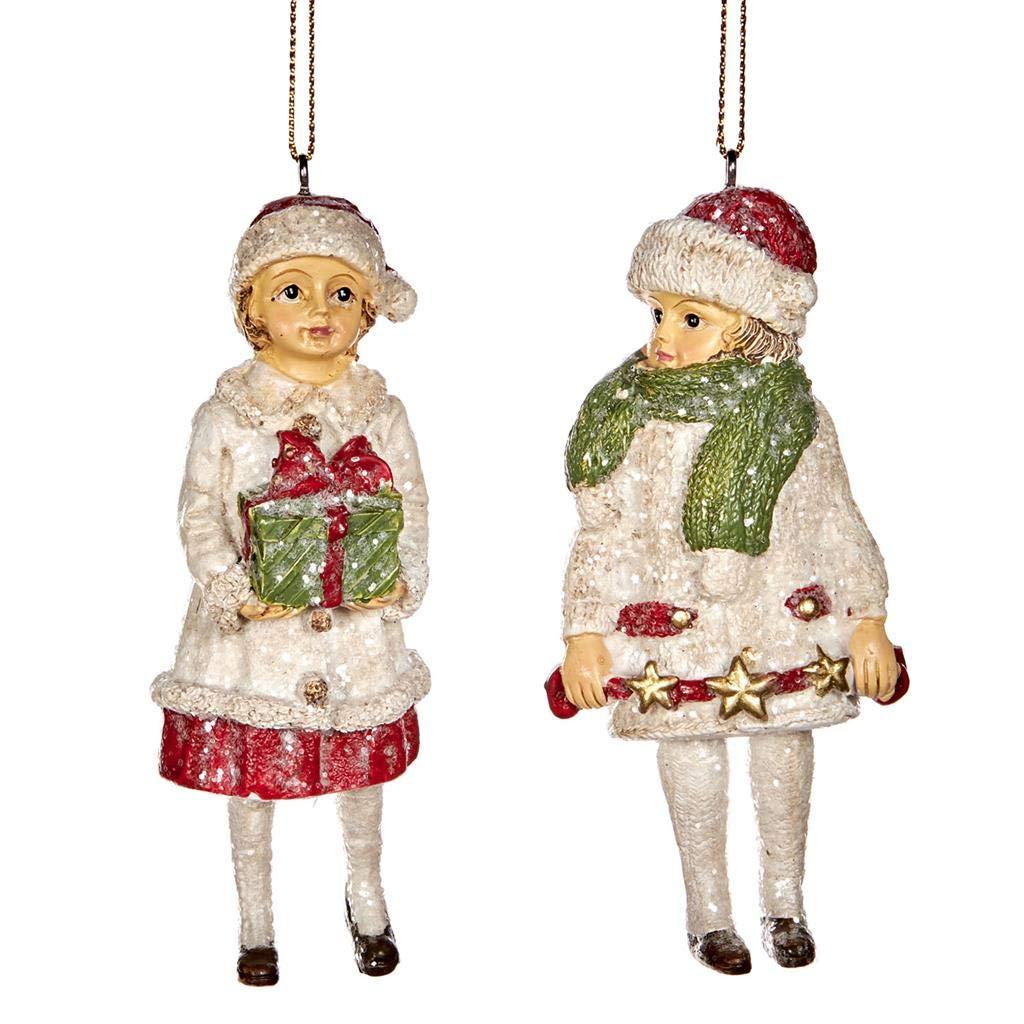 Good-will Navidad Victoriana Ni/ños con Regalos Decoraci/ón Adorno de Resina 12 cent/ímetros Rojo Blanco Juego de 2 Surtidos