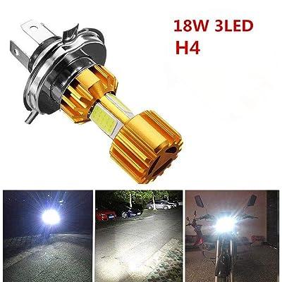 H4 18W Motorcycle LED Headlight Bulb, Golden^Li 3 COB 6000K 1500LM Bright Motorbike Headlamp, Fog Light with High Low Beam White: Home Improvement