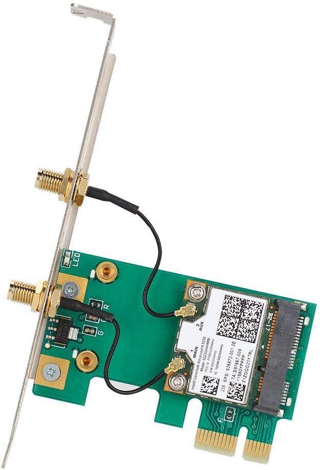 ASHATA Network Card,Dual Band Network Card for Intel 6230 62230ANHWM Dual Band Desktop PCI-E X1 Wireless Network Card 300Mbps,Desktop Network Card for Win XP//7//8//10
