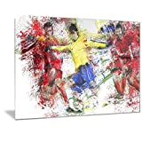 Designart Soccer Break Away Metal Wall Art - MT2531 - 40x30