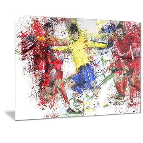 Designart Soccer Break Away Metal Wall Art - MT2531 - 40x30 by Design Art