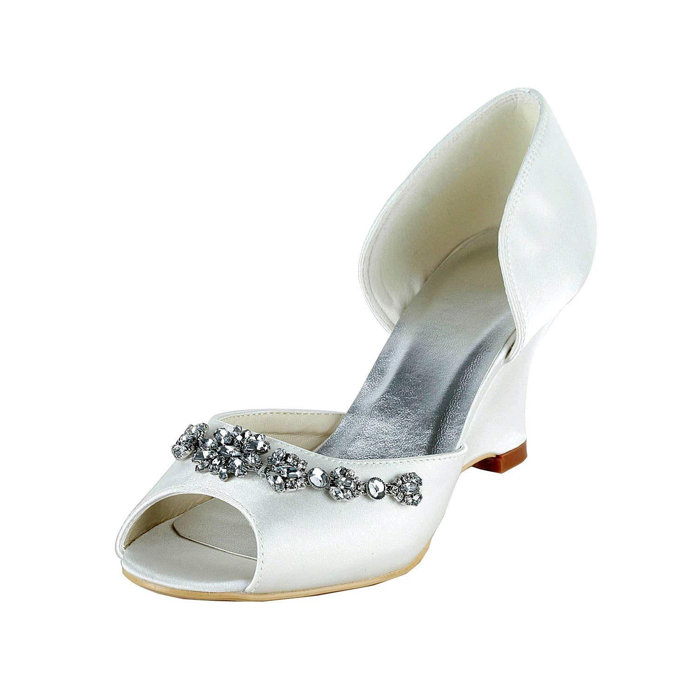 Qiusa GYMZ651 damen Open Toe Stiletto Satin Wedge Braut Hochzeit Schuhe (Farbe   Weiß-9cm Heel Größe   8.5 UK)