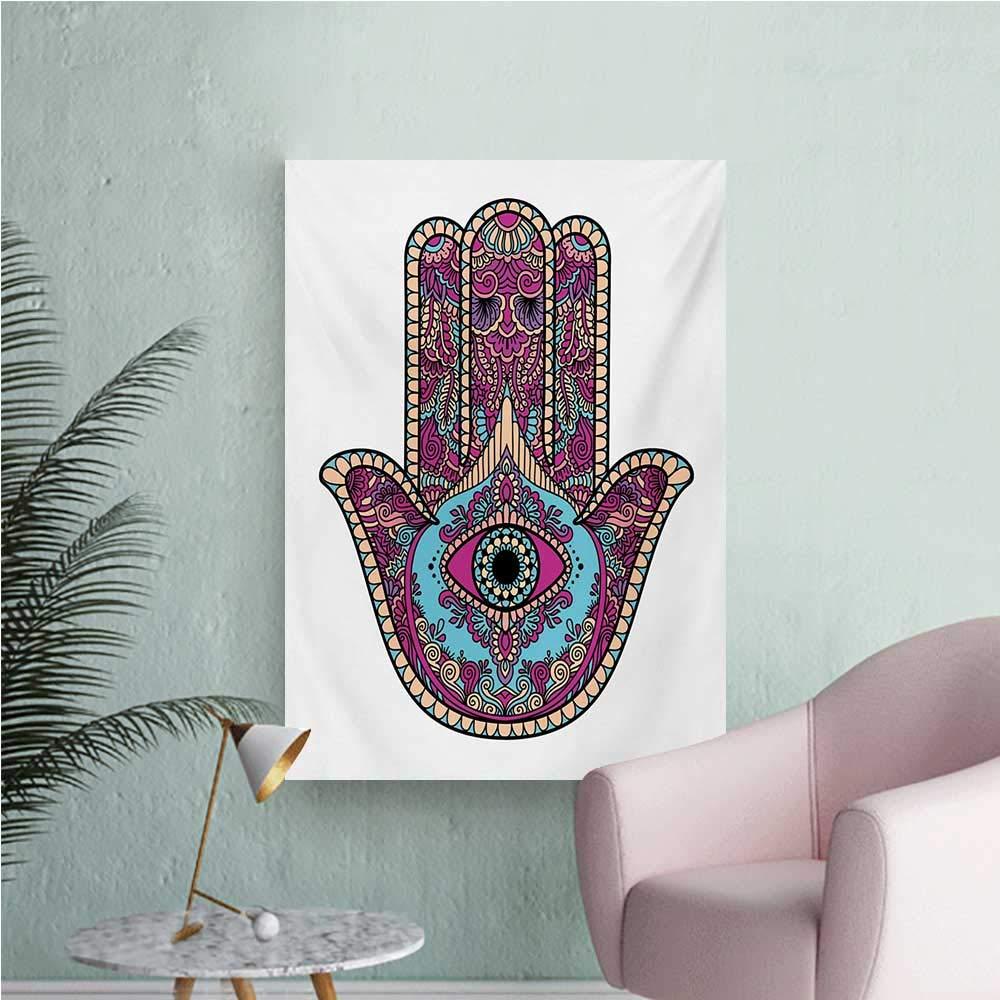Amazon.com: Anzhutwelve Hamsa Wallpaper Doodle Zentangle Style Bohemian Old Fashioned Floral Swirls All Seeing EyeMagenta Aqua Peach W32 xL48 Custom Poster: ...