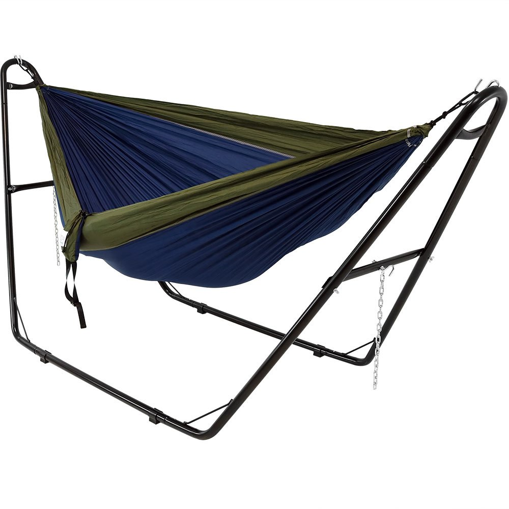 Sunnydaze Double Nylon Parachute Camping Hammock, Includes Carabiners and 2 Person Multi-Use Steel Hammock Stand, 440 Pound Capacity, Blue and Olive