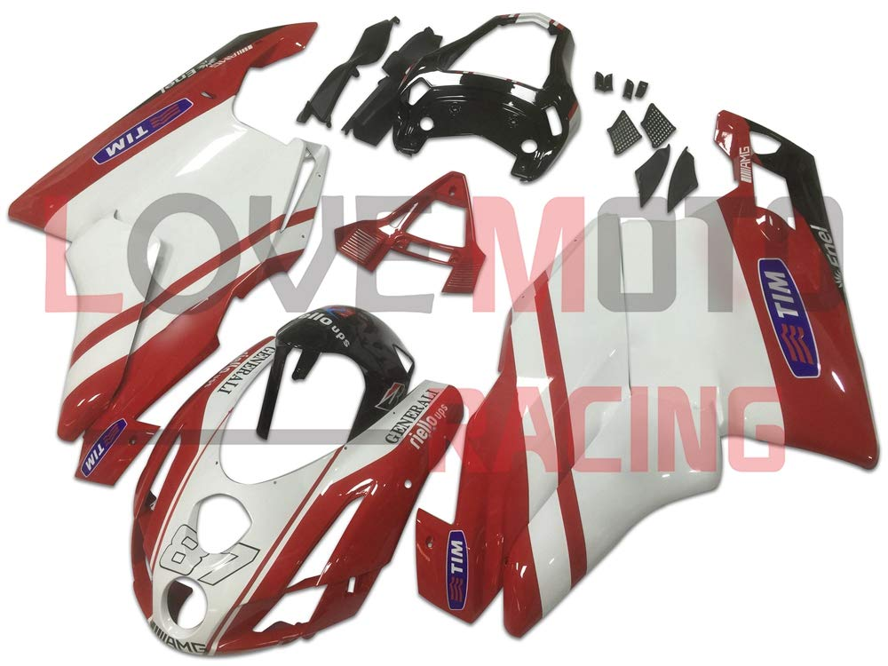 LoveMoto ブルー/イエローフェアリング デュカティ ducati Monoposto 2003 2004 999 749 03 04 ABS射出成型プラスチックオートバイフェアリングセットのキット レッド ホワイト   B07KQ4Y5K7
