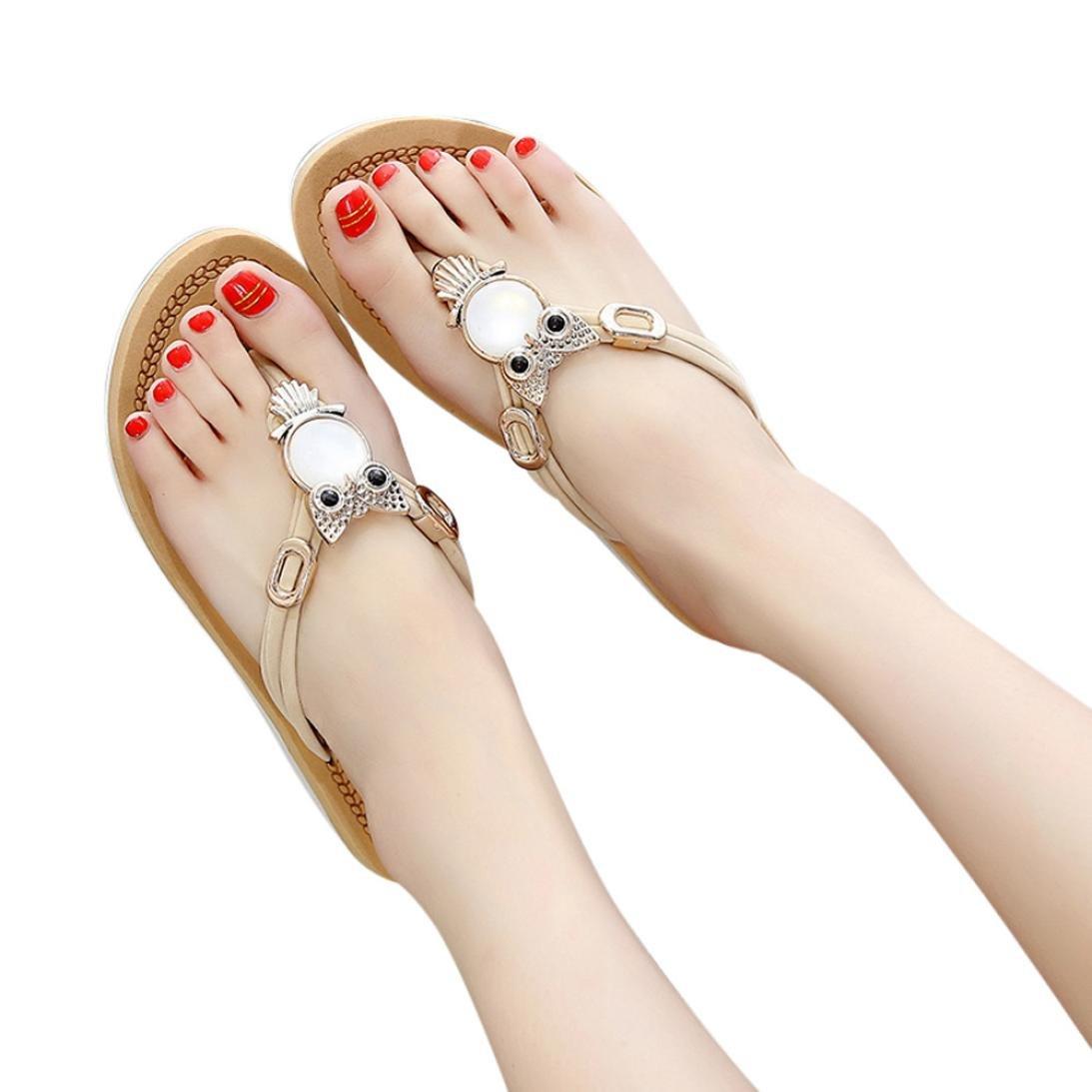 Ouneed- Damen Sandalen, Damen Sommer Frauen Bouml;hmen Crystal Bling Bling Thick Bottom Sandalen Slipper Strandschuhe Zehentrenner35 Beige