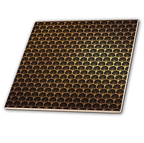 (3dRose Anne Marie Baugh - Patterns - Black and Image of Gold Art Deco Rounded Fan Pattern - 12 Inch Ceramic Tile (ct_316279_4) )