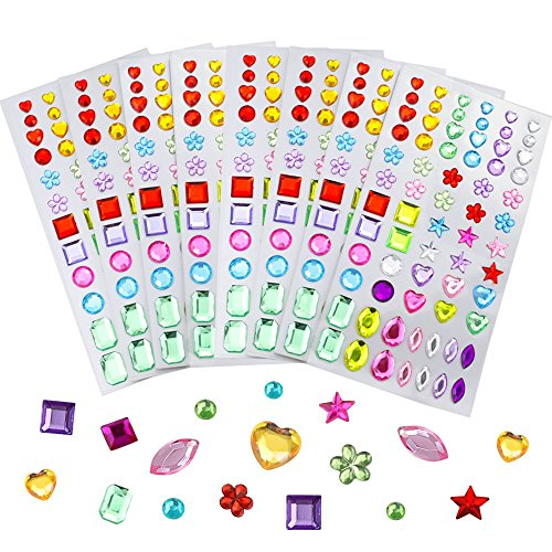 (JPSOR 8 Sheets 544Pcs Self-Adhesive Rhinestone Sticker Bling Craft Jewels Crystal Gem Stickers, Assorted Size)