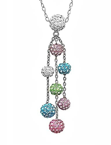 Brand new Amazon.com: Sterling Silver Multi Colored Crystal Ball Necklace  RZ38