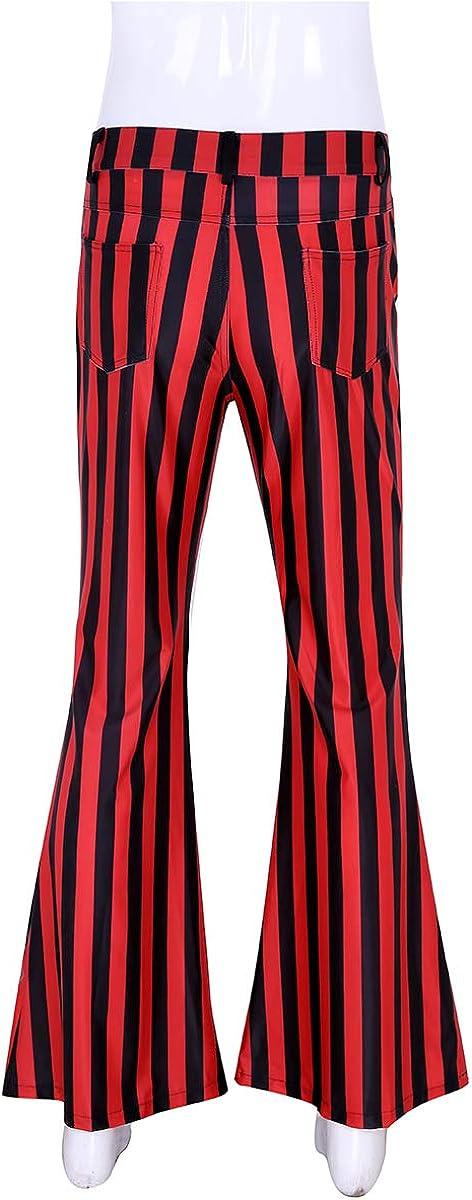 vastwit Mens 60s 70s Retro Vintage Bell Bottom Striped Stretch Super Flares Long Pants Trousers