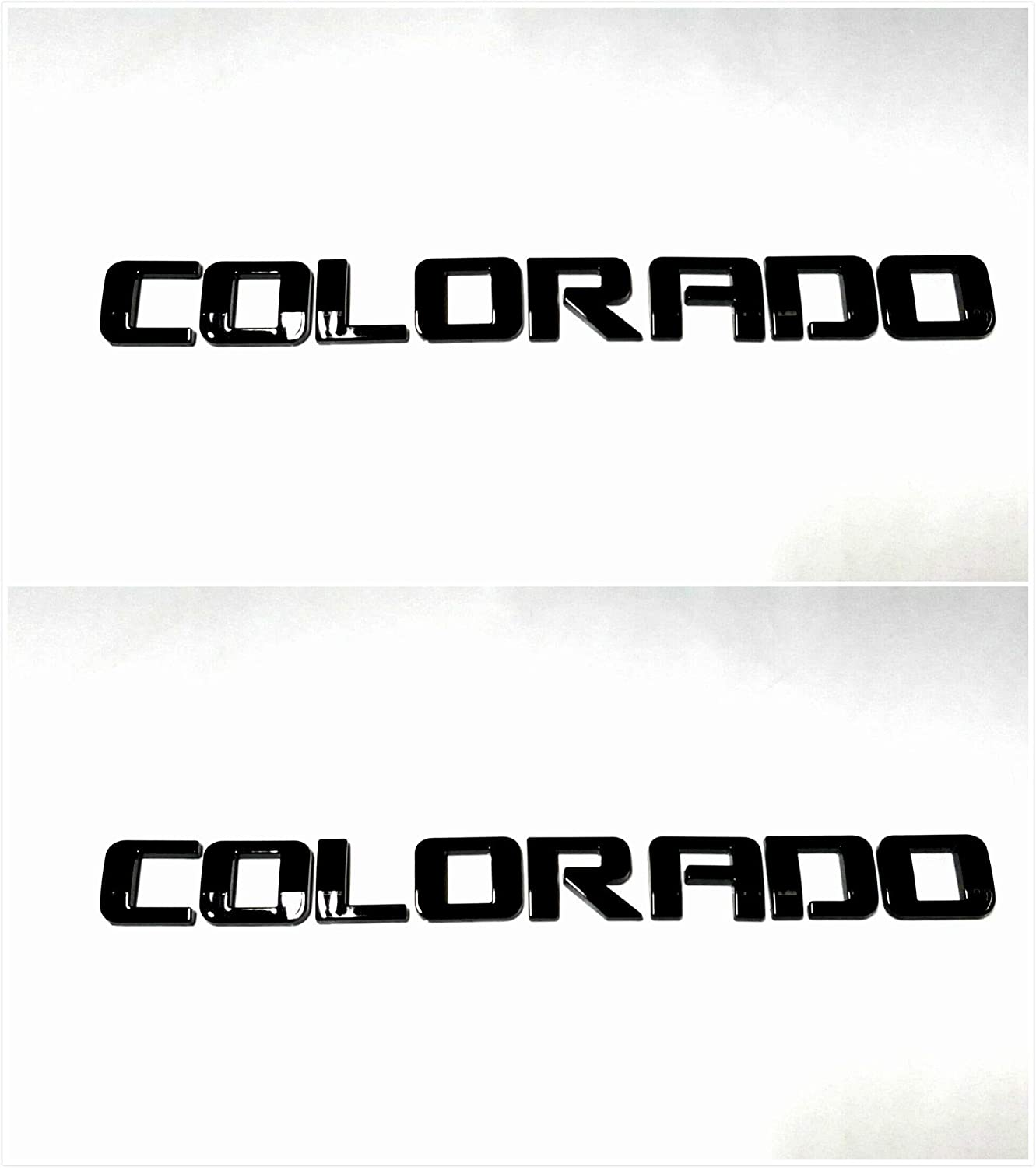 Gloss Black Three Pcs Colorado Fender Tailgate Badge 3D Logo Emblem Nameplate Letter Truck Replacement For 03-18 CHEVROLET COLORADO