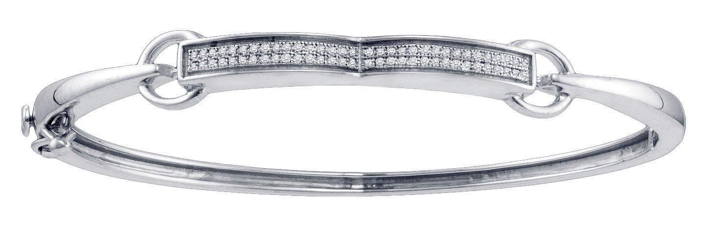 Sterling Silver Womens Round Diamond Single Row Bangle Bracelet 1/5 Cttw