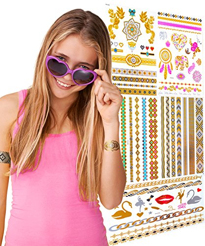 TEMPORARY FLASH TATTOOS FOR GIRLS - 5 Card Pack - 65 Designs - Great Birthday Gift For Girls & Party Favour Idea For All Ages - Includes Gold, Metallic & Colourful (Costume Party Ideas For Adults)