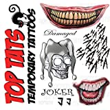 Joker Suicide Squad Fancy Dress Temporary Tattoos, Damaged,Skull,Mouth, Cosplay, Comic Con Halloween by Top Tats