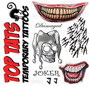 Joker suicide squad fancy dress temporary tattoos damaged for Joker damaged tattoo