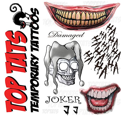 Joker Damaged Tattoo Png: Joker Suicide Squad Fancy Dress Temporary Tattoos, Damaged