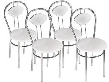 Chaise De Salle A Manger Confortable Tiziano Plus Couleur Blanc Lot De 4 Chaises
