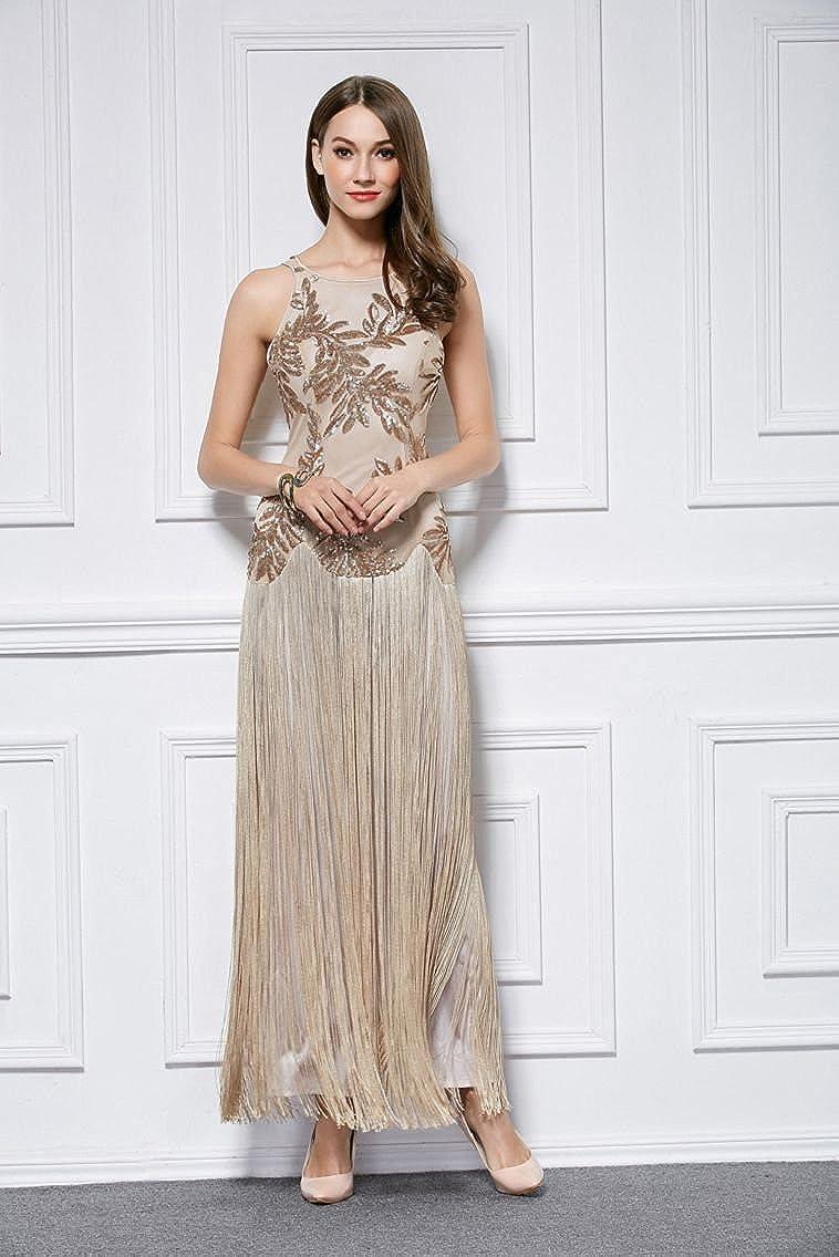 Sin mangas de las borlas de Maxi Una linea de lentejuelas O-correas del cuello del vestido de noche: Amazon.es: Ropa y accesorios