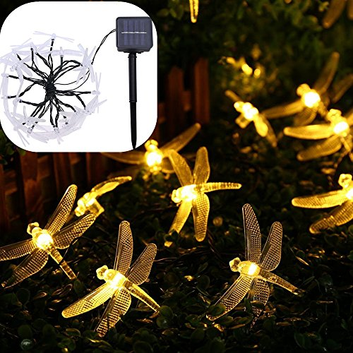 Solar String Lights Outdoor Waterproof LED Warm White,20 LED Dragonfly Solar Fairy Lights with Solar Panel 2 Lighting Modes for Indoor Home, Garden, Fence, Christmas Tree, Wedding, Holiday by elecfan ()