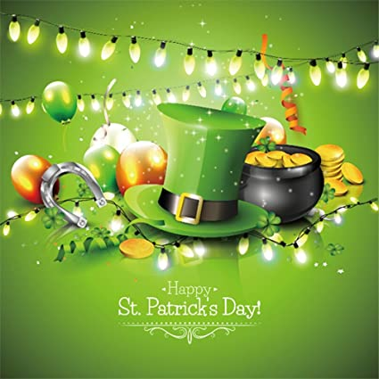 Aofoto 5x5ft Happy St Patrick S Day Background St Pat Lucky Clover Coin Photography Backdrop Horseshoe Spring Clevis Shamrock Leprechaun Hat Pot Of