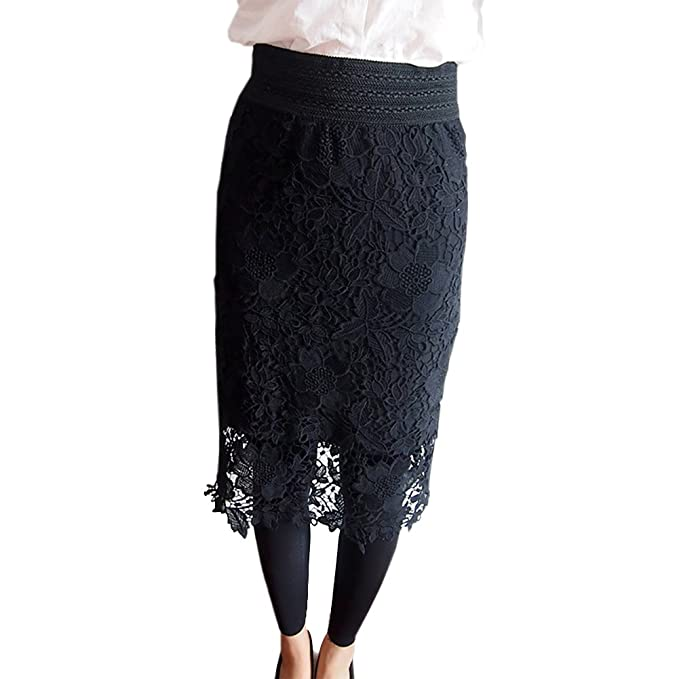 6c4b69e0a6ae9 2019 New Women Lace Skirt A-Line Hollow Out White Black SKirt Knee Length  Plus