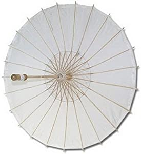 Paper Wedding Party Parasol Asian Chinese Japanese Paper Umbrella for Photography Cosplay Costumes Wedding Party Home Decoration Adult Size, 32 inch, White