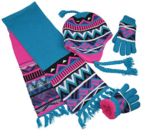 - N'Ice Caps Big Girls Sherpa Lined Printed Hat/Scarf/Glove Knitted Accessory Set (Fuchsia/Turq/Purple/Multi, 4-7yrs)