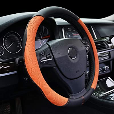 Steering Wheel Cover Microfiber Leather Breathable Anti-Slip& Odor Free Steering Accessories Fit for Suvs,Cars,Sedans Universal 14.5-15 Inch,Orange: Home & Kitchen