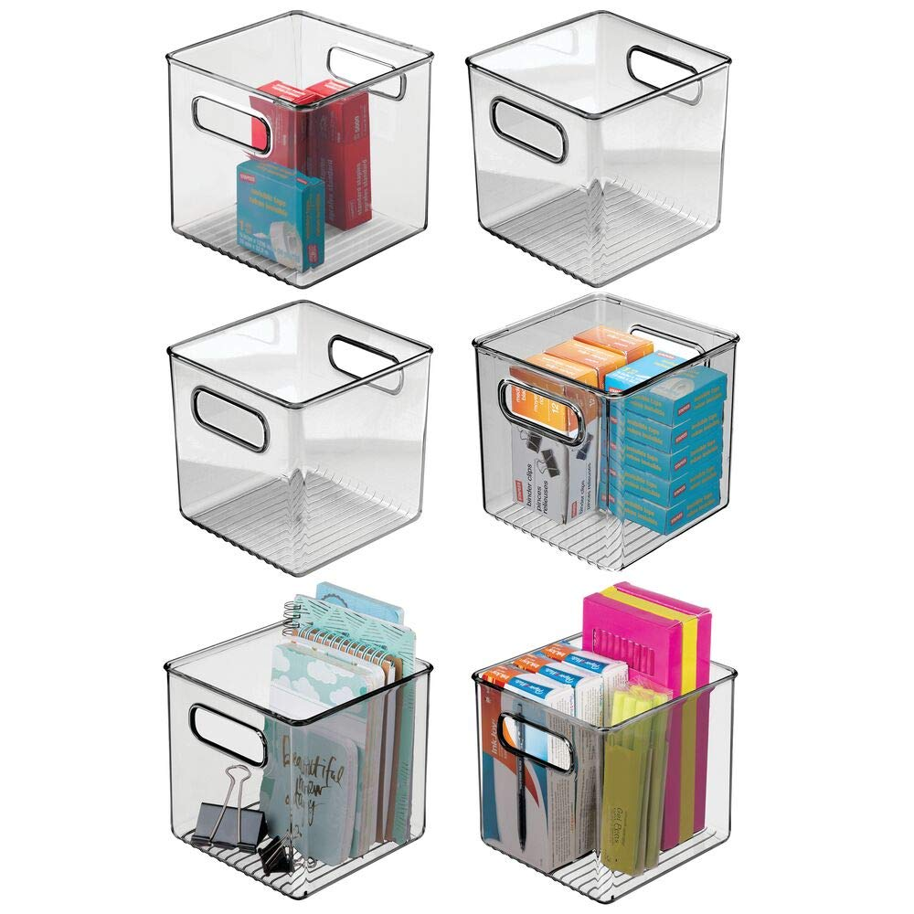 mDesign Plastic Home Office Storage Organizer Container with Handles - for Cabinets, Drawers, Desks, Workspace - Holds Pens, Pencils, Highlighters, Notebooks - 6'' Cube, 6 Pack - Smoke Gray