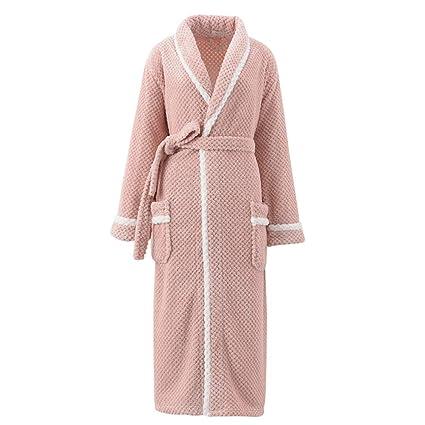 HGDR Bata De Baño con Bata De Lana para Mujer De Color Rosa De Invierno con