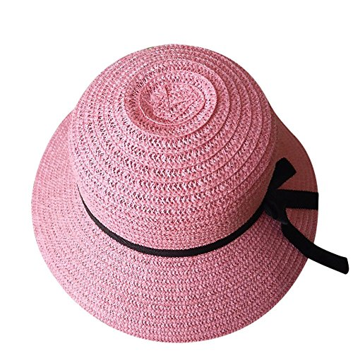 PIKAqiu33 Women Sun Beach Straw Hat Wide Brim Packable Floppy Travel Cap -