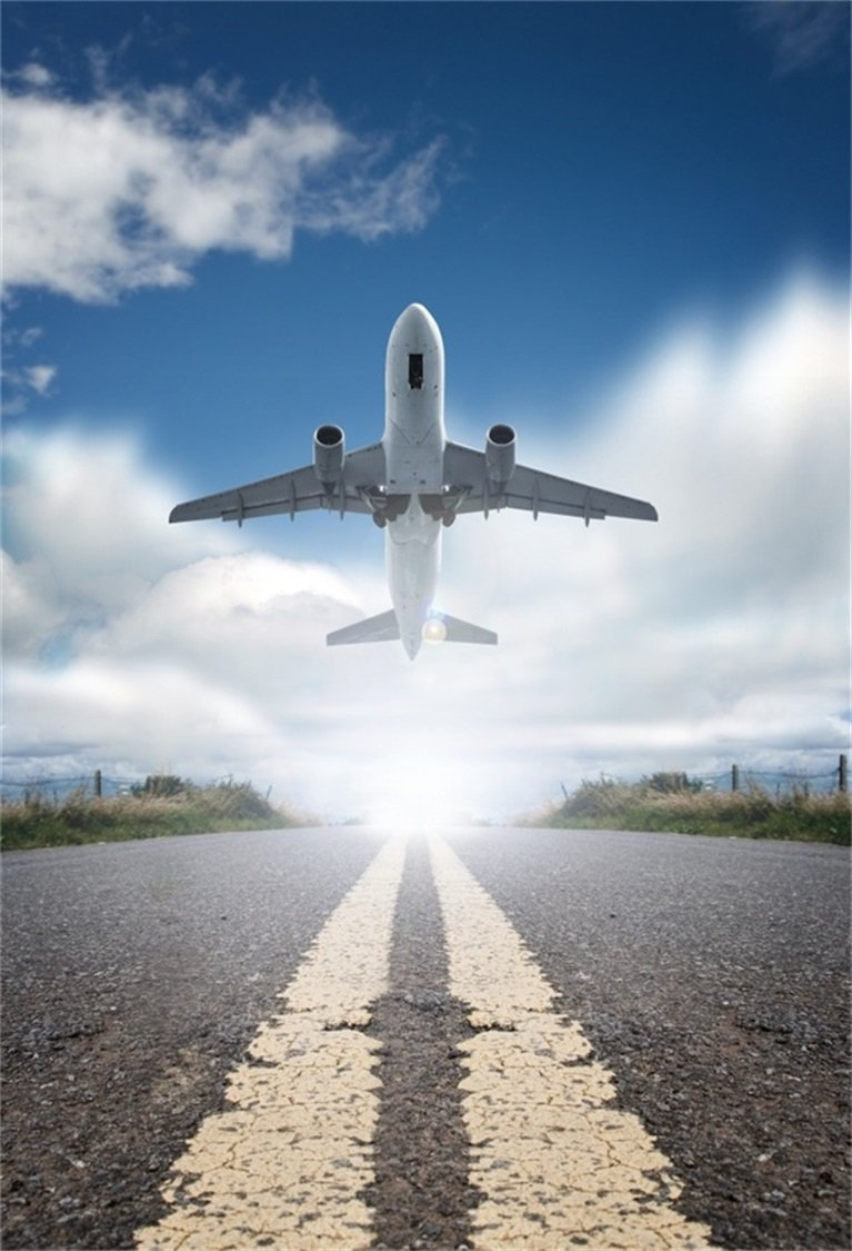 AOFOTO 6x8ft Airplane Departure Background Plane Taking Off From Airport Runway Photography Backdrop Sky Aircraft Travel Transport Business Man Adult Portrait Photo Studio Props Video Drape Wallpaper