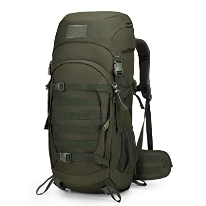 531a0b9d530e Mardingtop 50 Liter Internal Frame Backpack with Rain Cover for Military  Camping Hiking Traveling Army Green