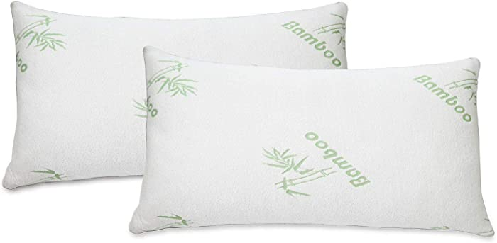 All American Collection Soft Home Bedroom Premium Hotel Quality 2pc Bamboo Pillow Shredded Memory Foam for Sleeping (King, White)