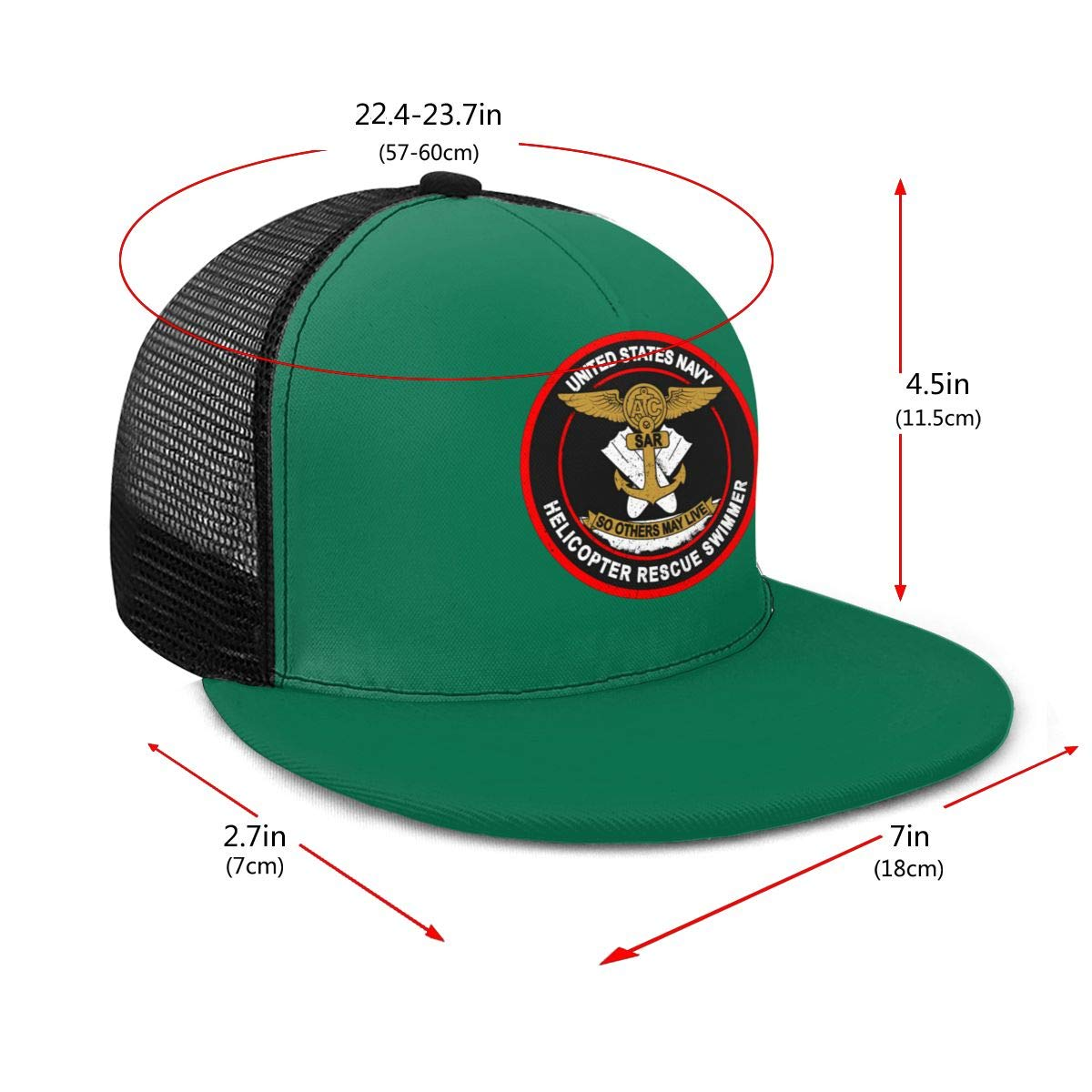 Helicopter Search and Rescue Swimmer Classic Grid Hop Flat Along Baseball Hat Snapback Unisex Hats Adjustable