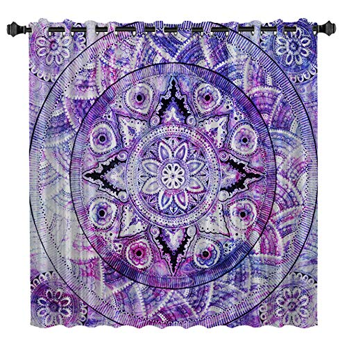 - Blackout Window Curtains Room Darkening Curtains Purple Mandala Style Bohemian Flower Ethnic Artistic Print Window Curtain Panels for Bedroom 52 inch Wide by 84 inch Long